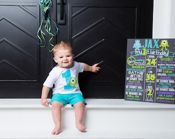 Monsters Inc Birthday Chalkboard / Monsters Birthday Chalkboard / Little Monsters Birthday Chalkboard / Monster Birthday Chalkboard /Digital