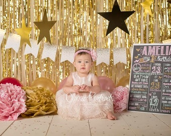 Pink Gold and Mint Birthday Chalkboard / Pink and Gold Birthday Chalkboard/ Girl First Birthday Chalkboard/ Pink Gold and Mint/Digital File