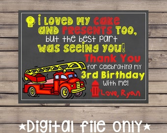 Firetruck Birthday Thank You Note / Firetruck Thank You Card / Firefighter Thank You / Firetruck Chalkboard Thank You / Firetruck Chalkboard