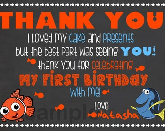 Finding Nemo Thank You Card / Finding Nemo Thank You Note / Finding Nemo Chalkboard Thank You Note / Fish Birthday Thank You Card / Digital