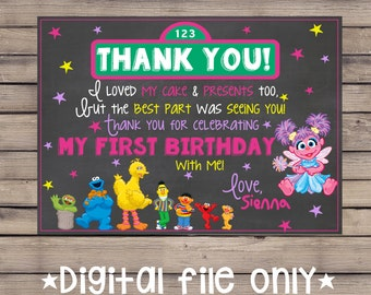 Sesame Street Thank You Card / Sesame Street Birthday Thank You /Sesame Street Chalkboard Thank You /Sesame Street Chalkboard Invitation
