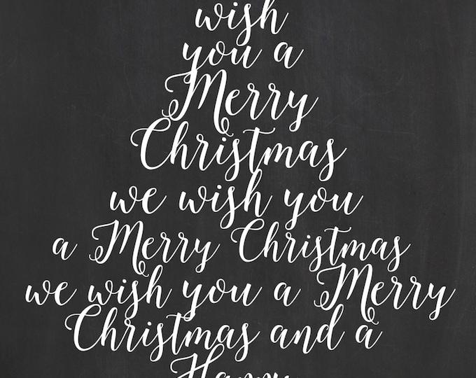 Printable Christmas Tree Card / Holiday Card / We Wish You a Merry Christmas Card / Custom Holiday Chalkboard Card / Christmas Chalkboard