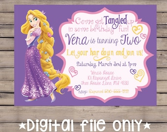 Rapunzel Birthday Invitation / Tangled Birthday Invitation / Rapunzel Invite / Tangled Invite / Rapunzel Birthday Invite / Digital File Only