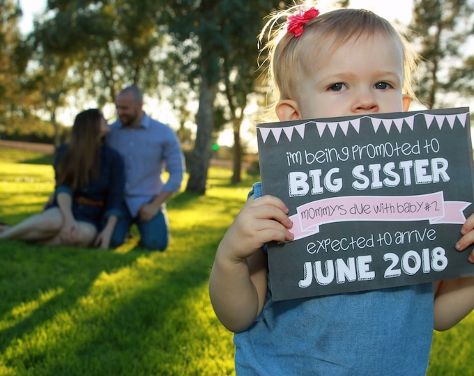 Promoted to Big Sister Sign/ Big Sister Chalkboard Sign / Going to Be Big Sister Chalkboard Sign / Promoted To Big Sister Announcement