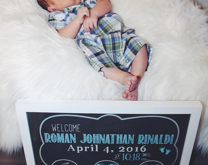 Baby Boy Birth Announcement Sign /Birth Announcement Chalkboard / Birth Announcement Photo Prop / It's a Boy Sign / Newborn Sign / Digital