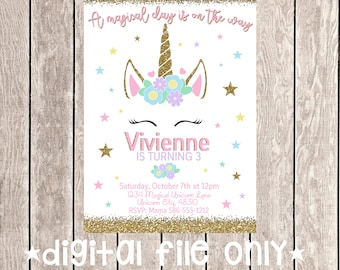 Unicorn Birthday Invitation / Unicorn Birthday Invite / Unicorn Invitation / Magical Unicorn Invitation / Magical Unicorn / Digital File