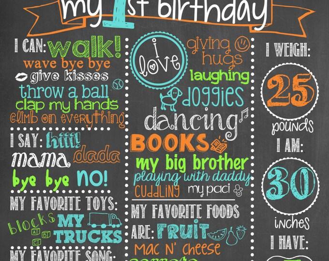Boy First Birthday Chalkboard / Chevron First Birthday Chalkboard / Boy First Birthday Chalkboard / Chevron First Birthday Chalkboard Sign