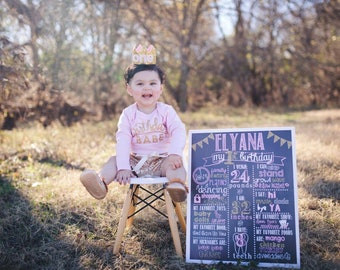Pink and Gold Birthday Chalkboard / Pink and Gold Birthday / Pink and Gold Chalkboard Sign / Princess Birthday Chalkboard / Pink and Gold
