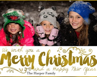 Printable Photo Christmas Card / Holiday Card / Merry Christmas Card / Custom Holiday Card / Merry Christmas Happy New Year Holiday Card