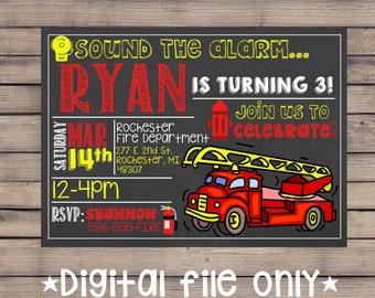 Firetruck Birthday Invitation / Firetruck Invitation / Firefighter Invite / Firetruck Chalkboard /Firetruck Theme Invite / Sound the Alarm