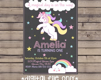 Unicorn Birthday Invitation / Unicorn Birthday Invite / Unicorn Chalkboard Invitation / Unicorn Chalk Invite / Magical Unicorn Invitation