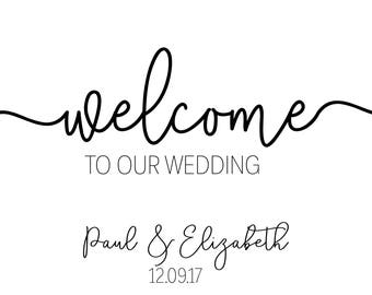 Wedding Welcome Sign / Welcome Wedding Sign / Modern Welcome Wedding Sign / Black and White Wedding Sign / Printable Wedding Sign / Digital