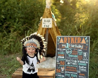 Tribal First Birthday Chalkboard / Teepee Birthday Chalkboard / Tribal Birthday Chalkboard / Woodland Birthday Chalkboard / Digital File