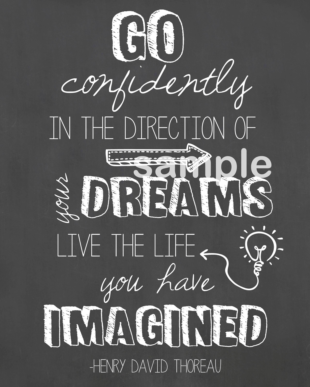 Go Confidently Wall Art Go Confidently Quote Henry David Thoreau