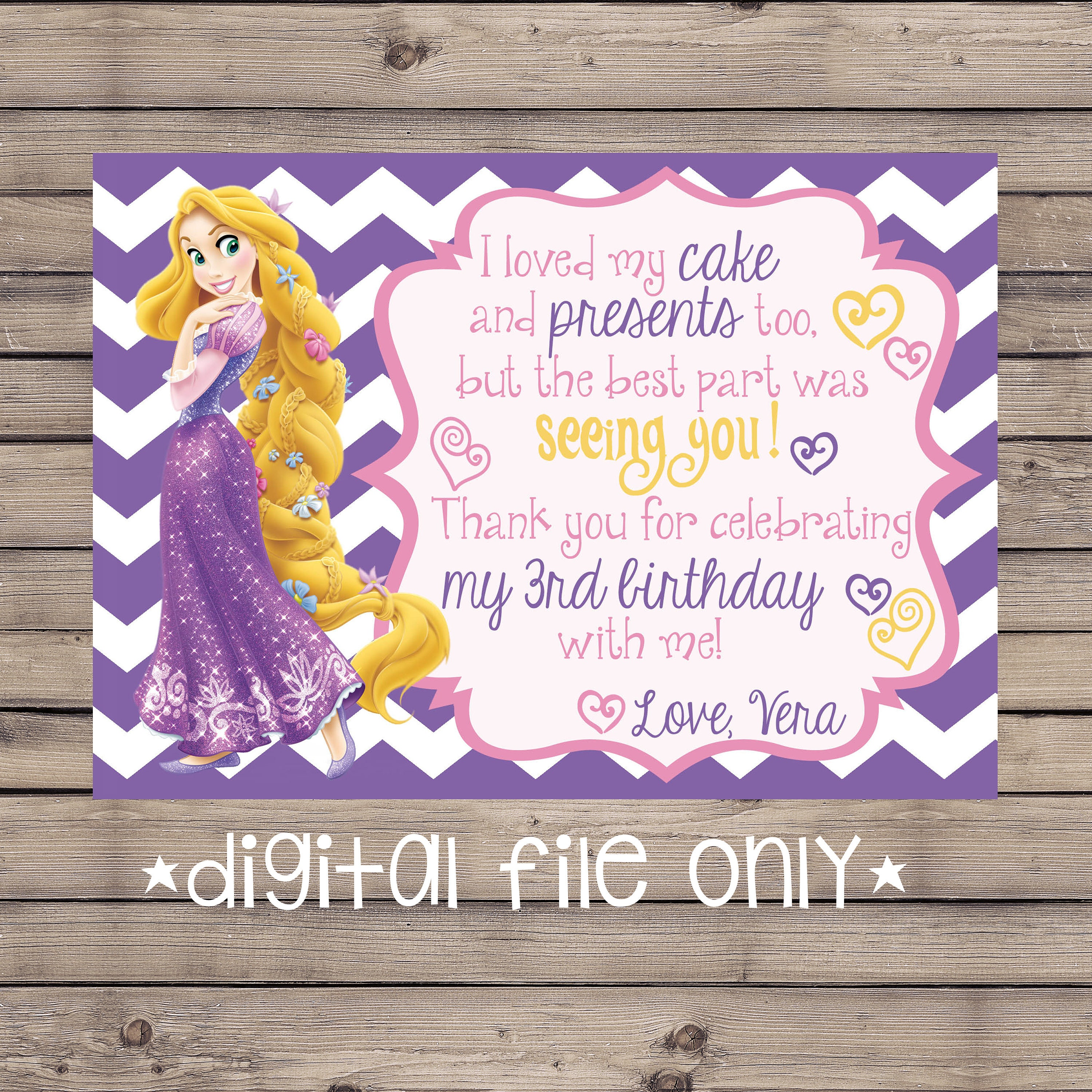 Tangled Birthday Thank You Card Rapunzel Birthday Thank You Card