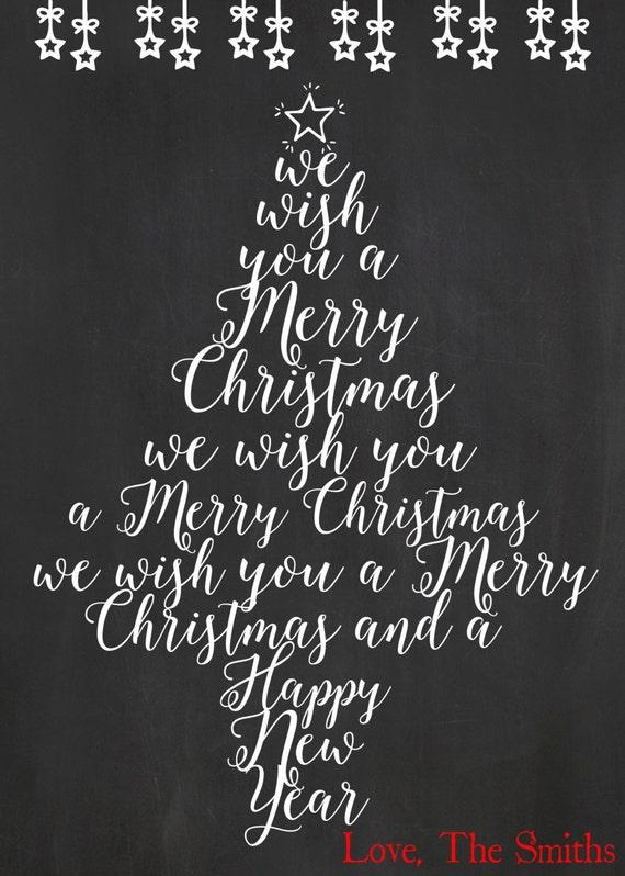 Printable Christmas Tree Card Holiday Card We Wish You A Etsy