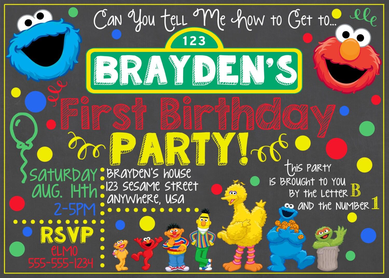 sesame street birthday invitations Sesame Street Invitation / Sesame Street Birthday Chalkboard  sesame street birthday invitations