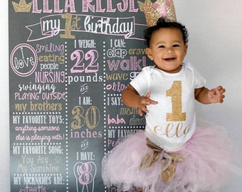 Pink and Gold Chalkboard / Pink and Gold Princess Chalkboard/ Pink and Gold First Birthday Chalkboard / Girl First Birthday Chalkboard Sign