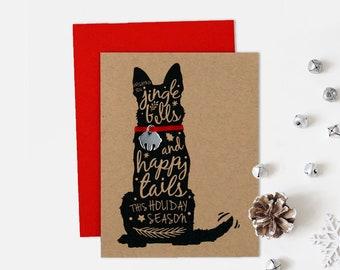 German Shepherd Christmas Card, Dog Holiday Card, Jingle Bell, Single Card, Set of 4 or 8