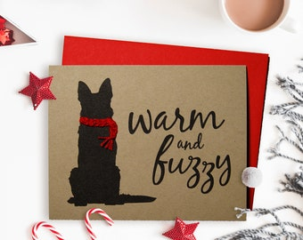 German Shepherd Christmas Card, Dog Holiday Card, Hand Knit Scarf, Single Card, Set of 4 or 8
