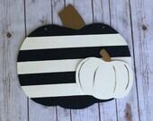 Black and White Pumpkin Door Hanger