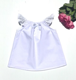 BABY GIRL CLOTHES - White Lace Ruffle Top