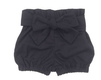 Baby Girl Clothes, Bloomers Black High waisted Baby Bloomer Shorties, nappy cover, diaper cover