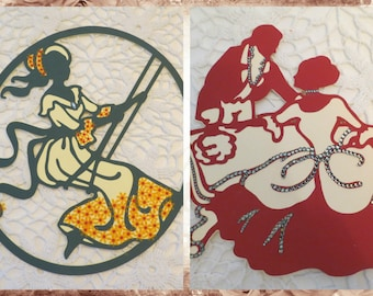Lovely Dancing Couple and Flower Girl on Swing Set Wall Decor Tea Party Lots of Bling