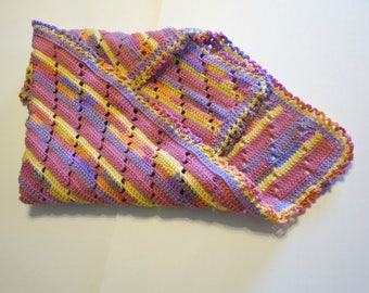 Bright Baby Blanket Hand Crocheted OOAK Ruffle Trimmed/My own pattern