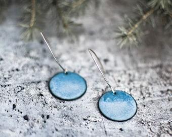 Coco Enameled Earrings, Copper Enameled, Round Earrings, Dangle Drop Earrings