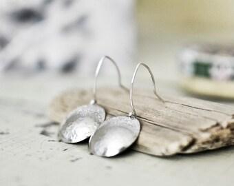 Sterling Silver Round Earrings   Silver Earrings  Round Earrings     Circle Earrings  Every Day Earrings   Ocean Earrings   Handmade Jewelry