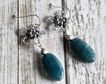 White Daisy Earrings - Sterling Silver Beads - Natural Gemstone - Agate - Seed Beads - Handmade Earrings