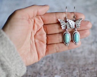 Blue Butterfly Turquoise Earrings, Turquoise Earrings, Silver Earrings, Turquoise Dangle Earrings, Nature Jewelry, Mother's Day Gift