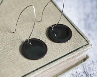 Willow Enameled Earrings, Enameled Earrings, Round Earrings, Copper Enameled, Dangle drop Earrings, Canadian Jewelry