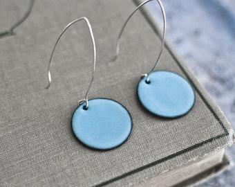 Etta Enameled Earrings, Enameled Earrings , Handmade Earrings, Round Enameled  Earrings, Alberta Made, Valentine Gifts