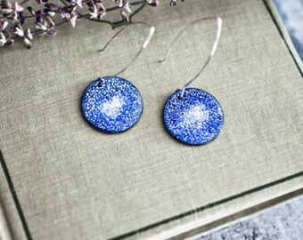 Indigo Enameled Earrings, Enameled Earrings, Copper Enamel, Statement Earrings, Modern Jewelry