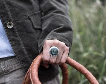 Radiant Splendor Ring, Sterling Silver Ring, Labradorite Ring, Canadian Jewelry, Alberta Handmade