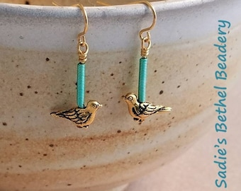 fe38af5a9 Turquoise Wire and Gold Paloma Bird Earrings