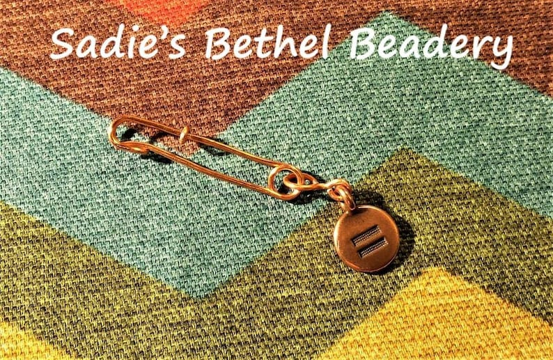 Safe Person Pin brooch in copper with equality charm
