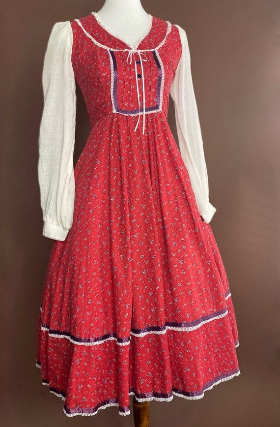 1970s Vintage Gunne Sax Midi Prairie Dress - image 3