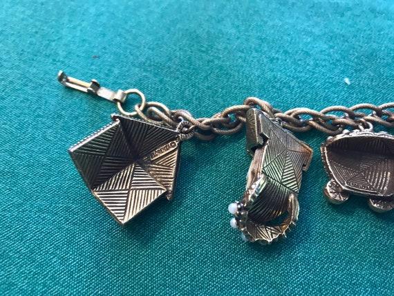 """Vintage Florenza charm bracelet — 7"""" long - image 3"""