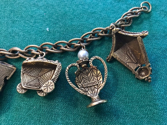 """Vintage Florenza charm bracelet — 7"""" long - image 2"""