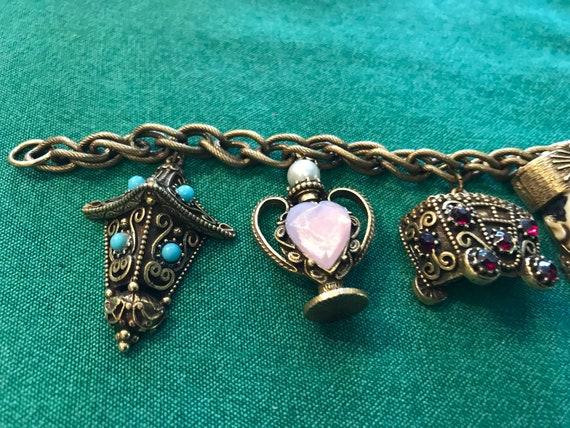 """Vintage Florenza charm bracelet — 7"""" long - image 4"""