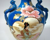 Handpainted Vintage Asian Vaxe, Quetzal Bird Handles, Satsuma Style, Geisha 39 s, 10 quot x 6.5 quot Cobalt Blue,