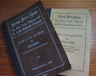 Nickle Plate Railroad 1953 & 1958 Rates of Pay Rules Engineers, Conductors Book, Brotherhood of Locomotive Engineers, Free Shipping