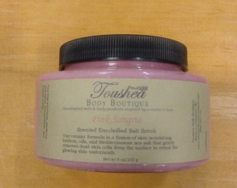 Pink Sangria Mediterranean Sea Salt Exfoliating Body Scrub, Handmade With Shea Butter And Cocoa Butter