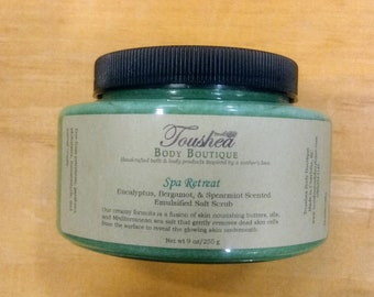 Spa Retreat Mediterranean Sea Salt Exfoliating Body Scrub, Handmade With Shea Butter, Cocoa Butter, And Essential Oils