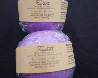 Large Lavender Bath Bomb With Shea Butter, Spa, Relaxation, Clary Sage, Essential Oils, Tranquility Meadow