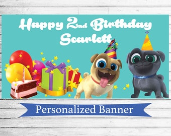 """18""""x30"""" Puppy Dog Pals Personalized Party Banner 