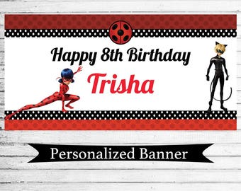 """Personalized 18""""x30"""" Miraculous Ladybug Birthday Party Banner 